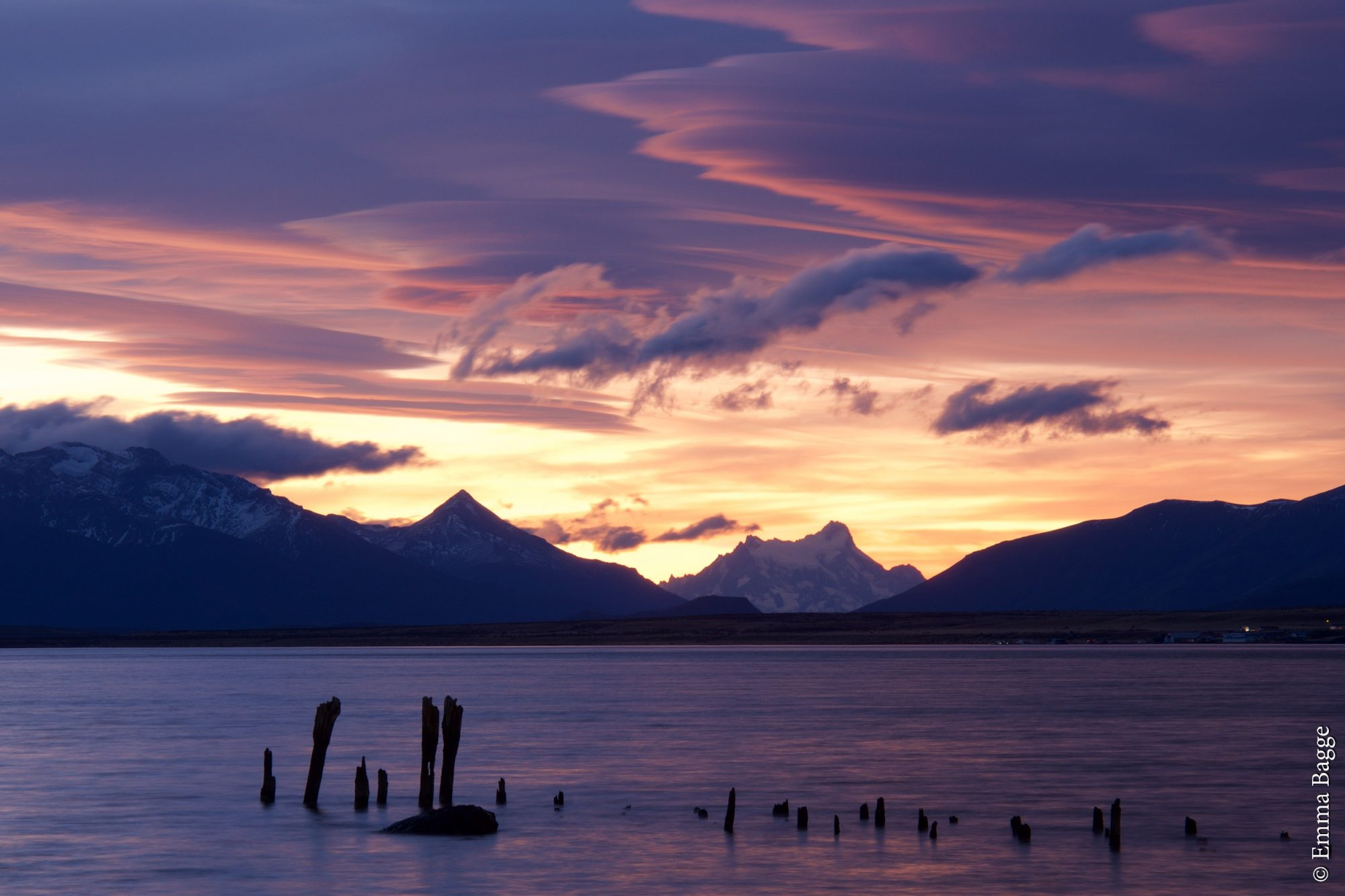 Sunset - Puerto Natales road coast